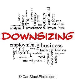 downsizing, conceito, palavra, &, preto vermelho, nuvem