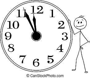 doze, relógio, parede, grande, ou, horas, cinco, segurando, homem negócios, homem sorridente, minutos, caricatura, antes de