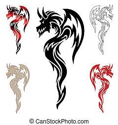 dragão, tatuagem, tribal, vetorial