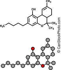 dronabinol), molecule., droga, cannabis, (delta-9-tetrahydrocannabinol, thc