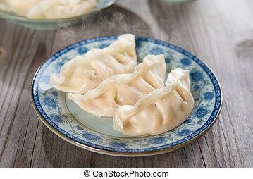 dumplings, cozinha, asiático, chinês, fresco