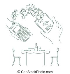 e-pay, sistema, pessoa, rfid, teia, 2d, pagar, vetorial, linha, caricatura, design., magra, café, pagamento, app, smartphone, carteira, serviço, illustration., idéia, móvel, conta, personagem, criativo, conceito