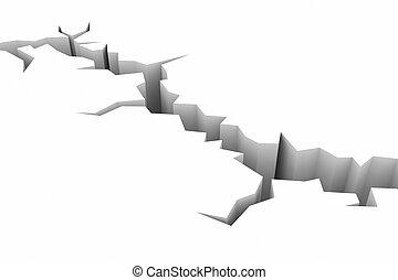 earthquake., terra, chão, white., fenda