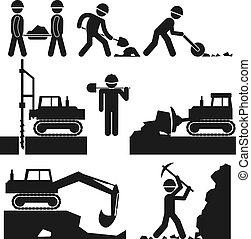 earthworks, construção, pretas, cobrança, ícones