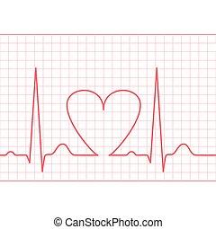 ecg, alimentação, -, electrocardiograma