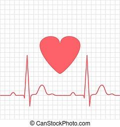 ecg, coração, -, electrocardiograma