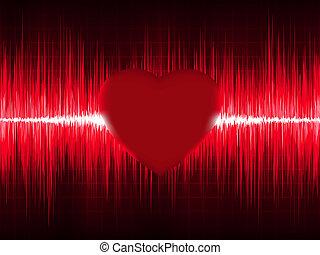 ecg, coração, eps, beat., 8, electrocardiograma
