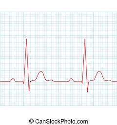 ecg, médico, -, electrocardiograma