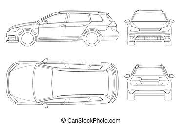 eco-amigável, compacto, topo, branca, outline., auto., vetorial, vehicle., lines., isolado, frente, lado, espessura, parte traseira, fácil, híbrido, car, modelo, olá-tecnologia, vista, mudança, hatchback