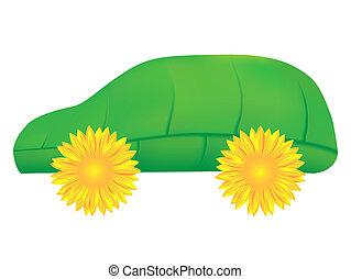 eco, carro verde, ícone
