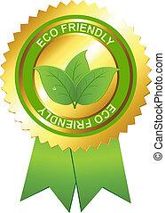 eco, emblema, amigável