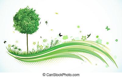 eco, fundo, verde