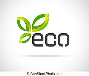 eco, logotipo, folha