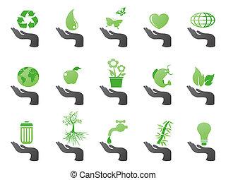 eco, mão, verde, ícones