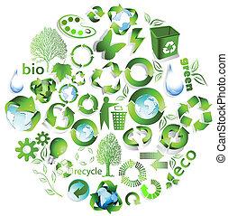eco, recicle, símbolos, fim