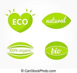 eco, símbolos, jogo, verde