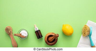 eco, soda, fundo, vinagre, limão, limpeza, produtos