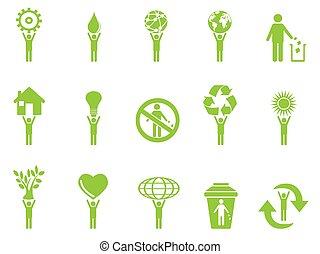 eco, verde, figuras, vara, ícones