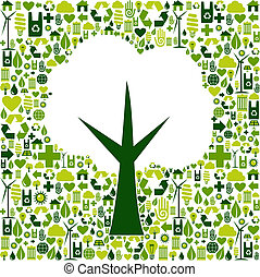 eco, verde, símbolo, árvore, ícones