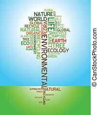ecologia, ambiental, -, cartaz
