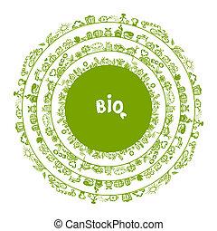 ecologia, conceito, quadro, desenho, verde, círculo, seu