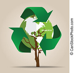 ecologia, concept., árvore, símbolo, vetorial, recicle, verde, pensar
