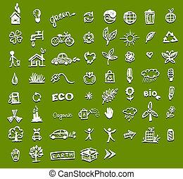 ecologia, desenho, seu, ícones