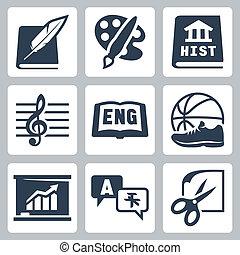 economia, escola, ícones, história, linguagens, estrangeiro, pe, vetorial, inglês, ofícios, música, assuntos, literatura, arte, set: