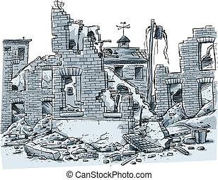 edifícios, arruinado