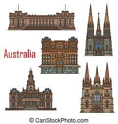 edifícios, catedral, austrália, sydney, arquitetura