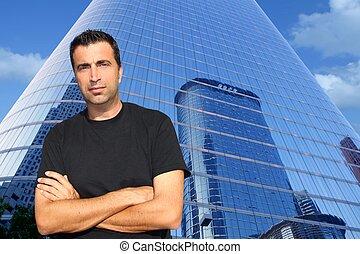 edifícios, escritório, idade, modernos, meio, retrato, homem