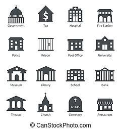 edifícios governo, ícones