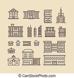 edifícios, vetorial, linha, magra, ícones