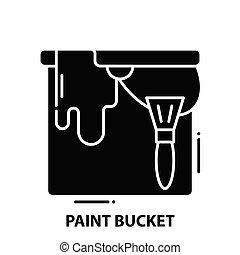editable, pretas, balde, ícone, ilustração, golpes, conceito, vetorial, sinal, pintura