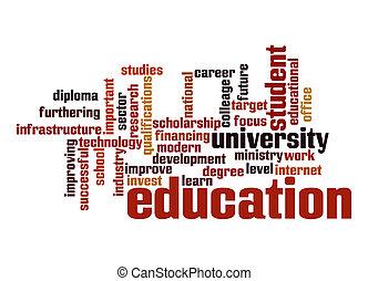 educação, palavra, nuvem
