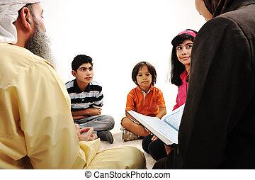 educação, par, muçulmano, alcorão, atividade, ramadan, leitura, crianças
