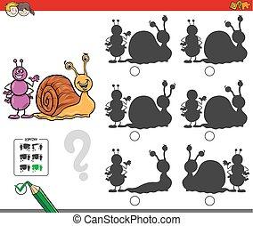 educacional, sombra, jogo, caracol, formiga