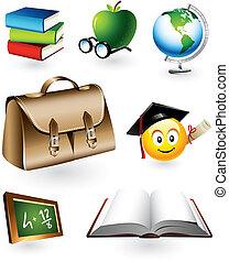 educacional, vetorial, elementos