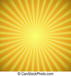effect., amarela, luminoso, vetorial, fundo, laranja, sombra, sunburst