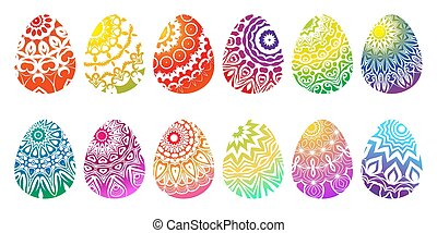 eggs., diferente, jogo, colorido, vector., páscoa