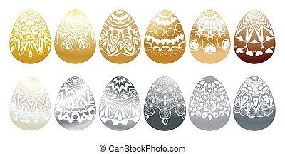 eggs., diferente, jogo, colorido, vetorial, páscoa