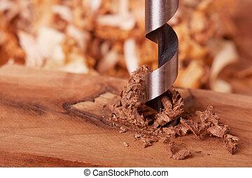 eixo helicoidal, bit, madeira, perfurar