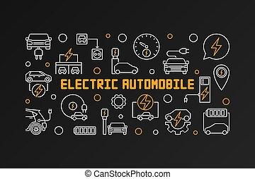 elétrico, automóvel, escuro, vetorial, fundo, linha, bandeira