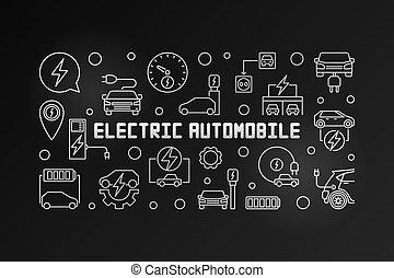 elétrico, automóvel, modernos, ilustração, vetorial, esboço