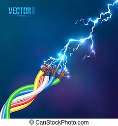 elétrico, flash, cabos, colorido, relampago
