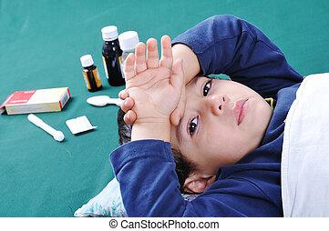 ele, atrás de, criança doente, pílulas, medics
