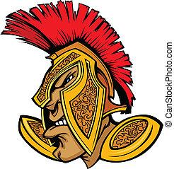 ele, cabeça, centurion, romana, mascote