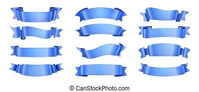 elegância, decoração, forma, scroll, isolated., elementos, vetorial, fita, onda, desenho, etiqueta, realístico, cobrança, ribbons., celebração, bandeira, azul