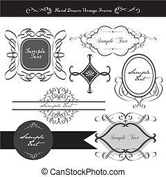 elegante, calligraphic, projete elemento