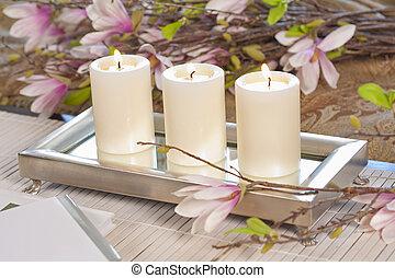 elegante, flores, velas